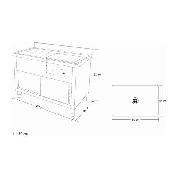 Dřezová skříň - 120 cm RCHS-1200WS - 7