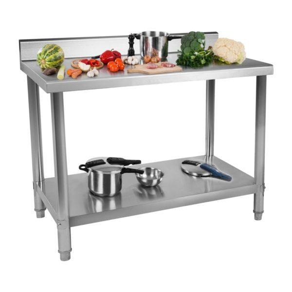 Nerezový pracovní stůl - 150 x 60 cm - s lemy RCAT-15060-S - 1