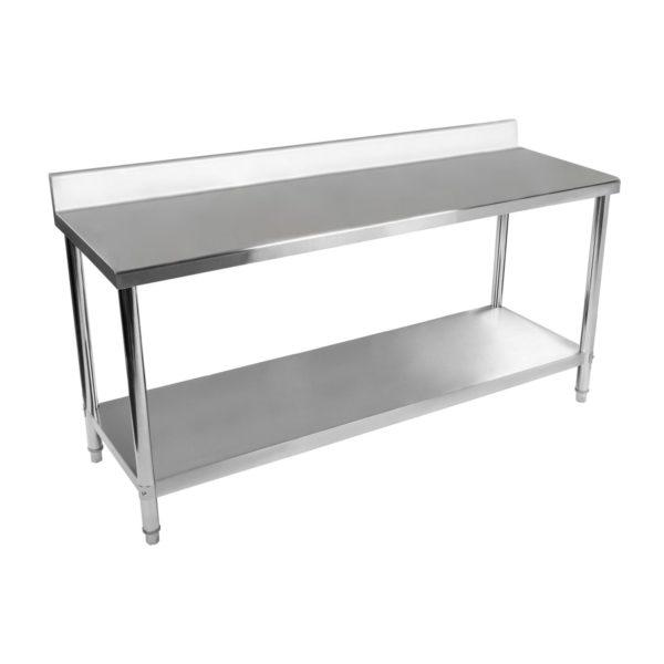 Nerezový pracovní stůl - 180 x 60 cm - s lemy RCAT-18060-S - 2