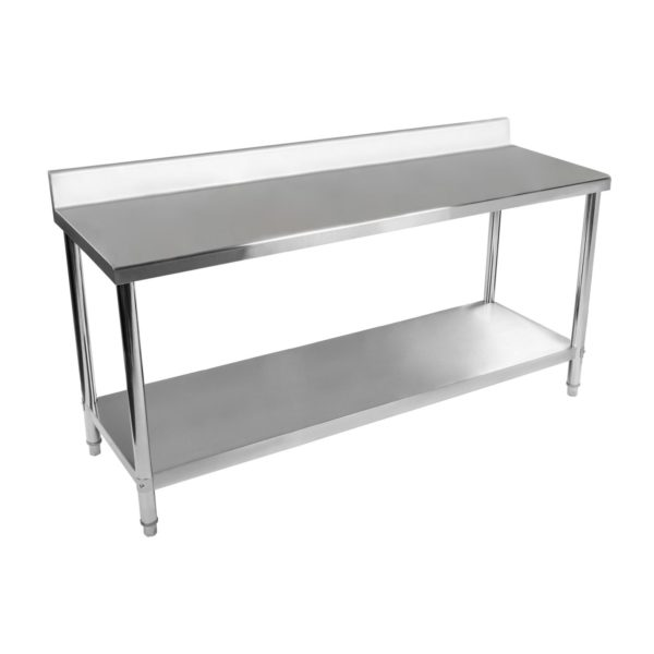 Nerezový pracovní stůl - 200 x 60 cm - s lemy RCAT-20060-S - 2