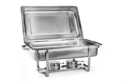 Chafing GN 1/1 | HENDI, Economic 475904. Vysoce kvalitní profesionální chafingy, ideální pro bufet a catering. Vysoce leštěné víko a stojan. Včetně 2 hořáků a nerezové GN 1/1.