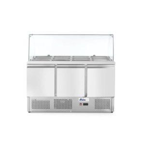 3-dveřový chladící salátový stůl s prosklenou nástavbou 1365x700x1300 mm | Arktic, 232798