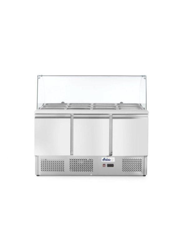 3-dveřový chladící salátový stůl s prosklenou nástavbou 1365x700x1300 mm   Arktic, 232798