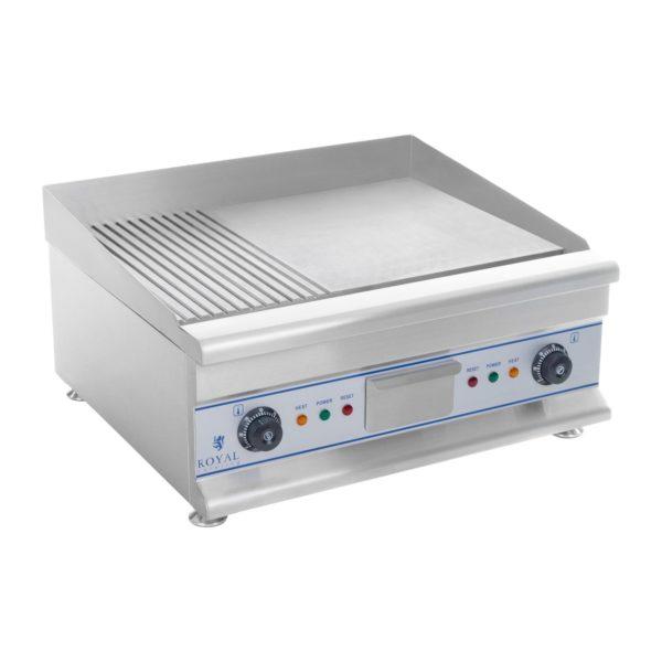 Elektrická grilovací deska - 60 cm - rýhovaná - 2 x 3,2 kW model RCG 60G, je důležitým doplňkem při přípravě pokrmů jako steaky, klobásy, pita chleba, tortily adalší pochutiny.