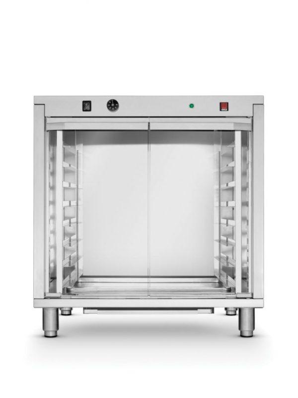 Kynárna, 8x 600x400 mm HENDI, 225967 - 1 Délka: 795 mm Šířka: 655 mm Výška: 835 mm Rozměr plechu: 600x400 mm Počet zásuvů: 8 Rozteč mezí zásuvy: 70 mm Materiál: nerezová ocel Min. teplota: 30 °C Max. teplota: 60 °C Zvlhčování: NE (jen model 225981) Napájení: elektrické Příkon: 2.4 kW Napětí: 230 V Váha: 43.6 kg