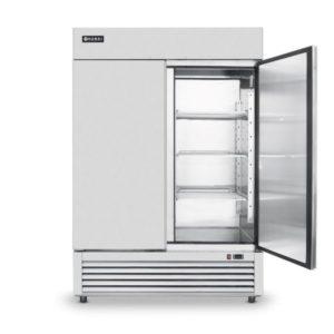 Mrazící skříň dvoudveřová, 1300 L | HENDI, 232521-1 Délka: 1382 mm Šířka: 800 mm Výška: 2110 mm Objem: 1300 l Min. teplota: -18 °C Max. teplota: -12 °C Příkon: 0.6 kW Napětí: 230 V Ventilátor: Ano Počet dveří: 2 ks Typ dveří: křídlové Prosklené dveře: Ne Barva: nerez (inox) Materiál: nerezová ocel