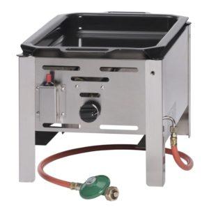 Smažící plynová pánev, 340x540x300 mm | HENDI, 154601 Bake Master Mini . Plynová pánev z nerezové oceli. V ceně: smaltovaná pánev (290×480mm) s úchyty.
