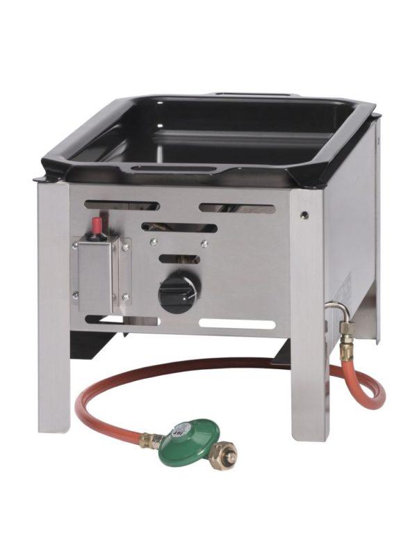 Smažící plynová pánev, 340x540x300 mm   HENDI, 154601 Bake Master Mini . Plynová pánev z nerezové oceli. V ceně: smaltovaná pánev (290×480mm) s úchyty.