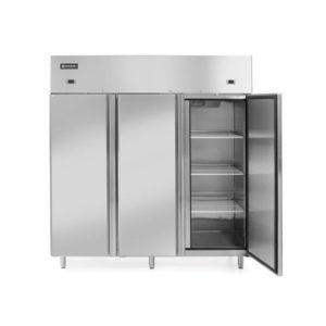 Skříň chladící/mrazící 890+420 L | HENDI, 233153 Délka: 1800 mm Šířka: 745 mm Výška: 1950 mm Objem: 1310 l Min. teplota: -22 °C Max. teplota: 8 °C Příkon: 0.75 kW Napětí: 230 V Ventilátor: Ano Počet polic: 9 ks Počet dveří: 3 ks Typ dveří: křídlové Prosklené dveře: Ne Materiál: nerezová ocel