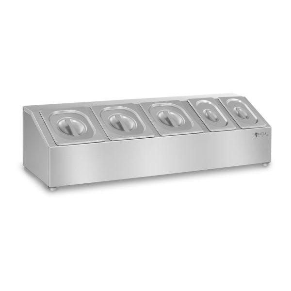 Gastronomická nástavba RCTS - včetně 5 vík - 1 vhodné pro GN 1/6 a GN 1/9 včetně 5 víkzajišťijíci bezpečnost a čerstvost potravin vyrobeno z kvalitní ušlechtilé ocele možná montáž na stěnu gumové nožky zajišťují stabilitu vhodné na mytí v myčce na nádobí