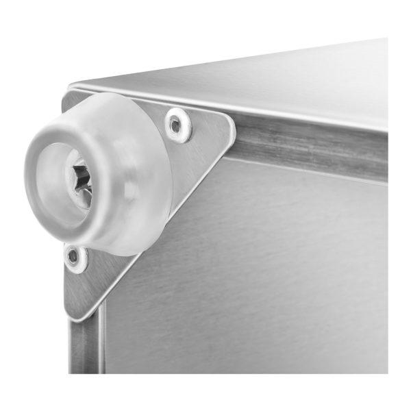 vhodné pro GN 1/6 a GN 1/9 včetně 5 víkzajišťijíci bezpečnost a čerstvost potravin vyrobeno z kvalitní ušlechtilé ocele možná montáž na stěnu gumové nožky zajišťují stabilitu vhodné na mytí v myčce na nádobí