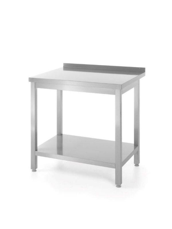 Nerezový pracovní stůl, přístěnný s policí - montovaný, 1400x600x850 mm HENDI, Bistro Line - 1