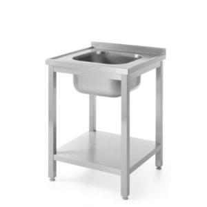 Nerezový stůl s jedním dřezem a policí - montovaný, 600x600x850 mm HENDI, Bistro Line - 1
