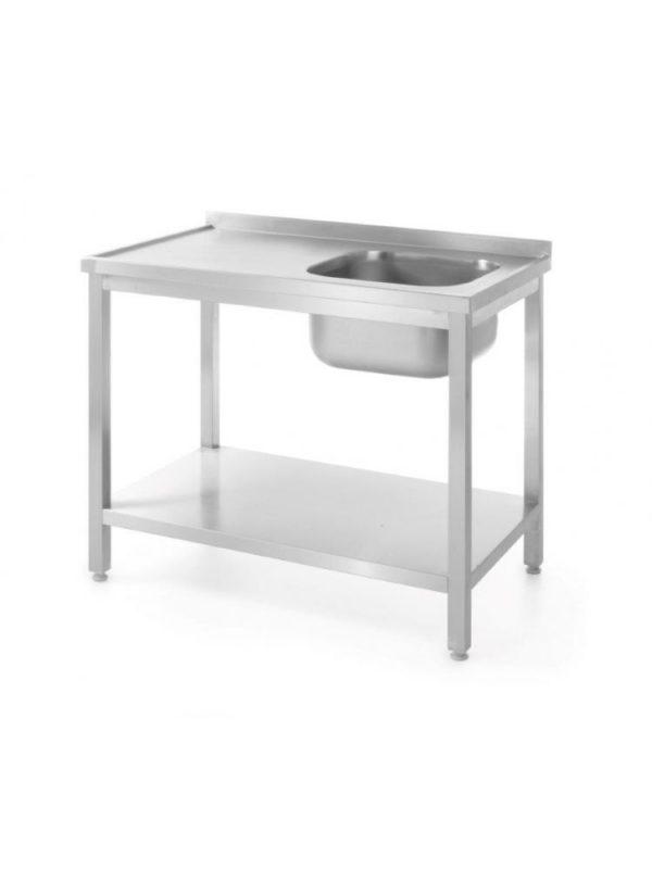 Nerezový stůl s jedním dřezem a policí - vpravo montovaný, 800x600x850 mm HENDI, Bistro Line - 1