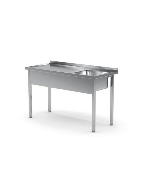 Nerezový stůl s jedním dřezem - vpravo montovaný, 1000x600x850 mm HENDI, Bistro Line - 1