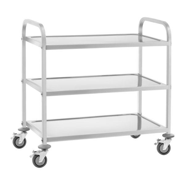 Servírovací vozík z ušlechtilé ocele - 3 police - do 150 kg - 2 brzdy - 1