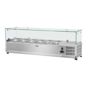 Chladicí nástavba - 140 x 33 cm - 6 GN nádob 14 - skleněný zákryt - 1