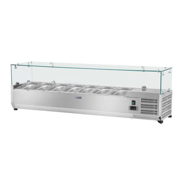 Chladicí nástavba - 150 x 33 cm - 7 GN nádob 14 - skleněný zákryt - 1