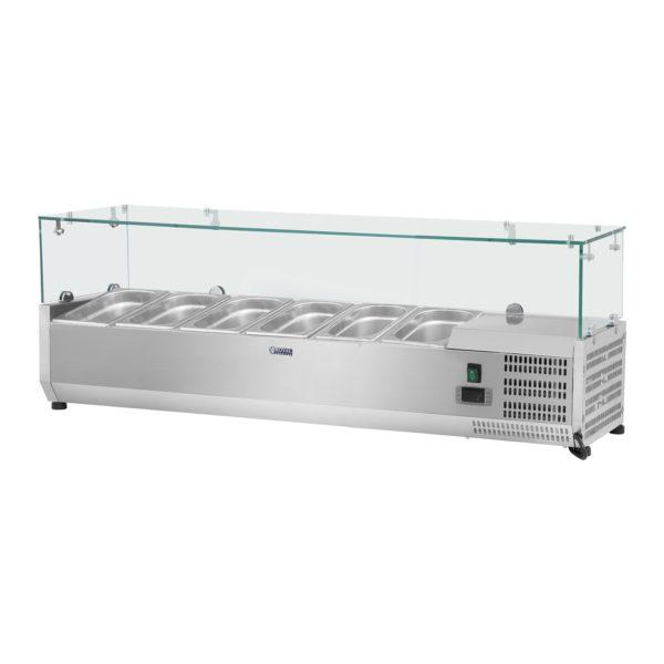 Chladicí nástavba- 150 x 39 cm - 6 GN nádob 13 - skleněný zákryt - 1