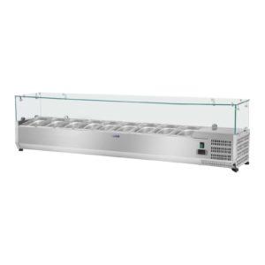 Chladicí nástavba - 180 x 33 cm - 9 GN nádob 14 - skleněný zákryt - 1