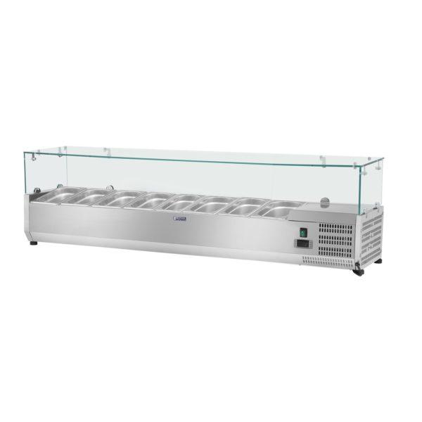 Chladicí nástavba- 180 x 39 cm - 8 GN nádob 13 - skleněný zákryt - 1