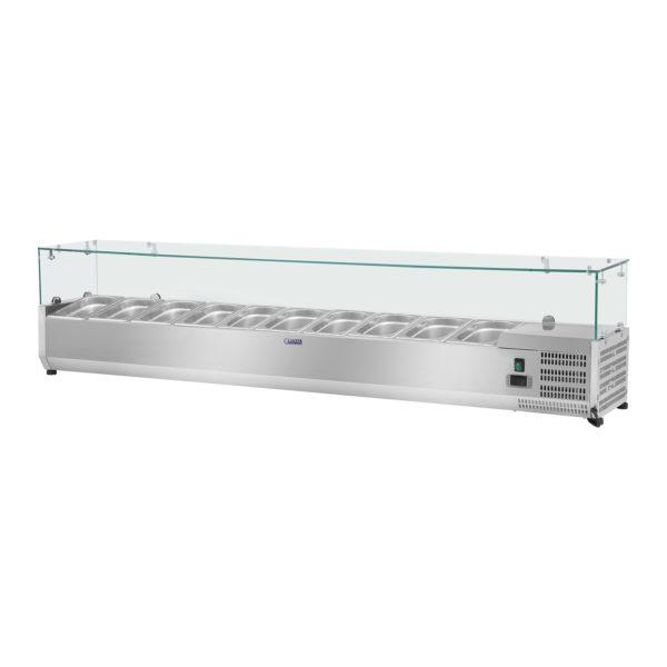 Chladicí nástavba - 200 x 33 cm - 10 GN nádob 14 - skleněný zákryt - 1