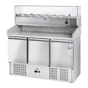 Chladicí pizza stůl - 411 l - žulová pracovní deska - 3 dveře - 1
