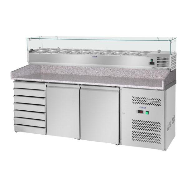 Chladicí pizza stůl - 702 l - žulová pracovní deska - 2 dveře - 1