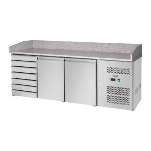 Chladicí stůl - 240 l - žulová pracovní deska - 2 dveře - 1