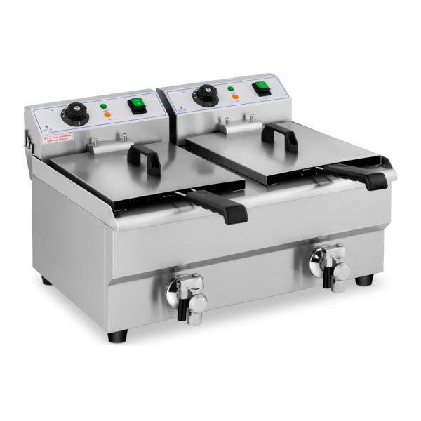 Fritéza - 2 x 10 litrov | 2 x 3000 W, vypouštěcí kohouty - 230 V, Ohřevná teplota 50-200°C, automatický termostat, vyrobené Ušlechtilé ocele.