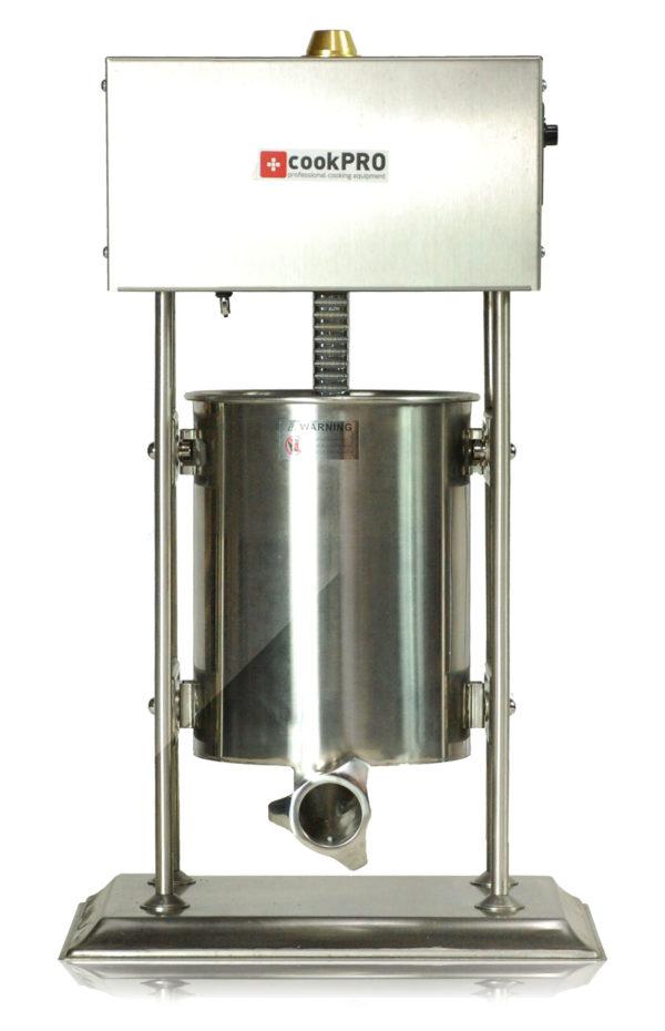 Elektrická plnička klobás 10 L | cookPRO model 560020002, Vybavená pohonem s elektrickým pístem, hnací pedál v přístroji, materiál nerezová ocel.