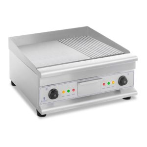 Dvojitá elektrická grilovací deska - 60 cm - hladká a vroubková | 6 400 W, velký povrch 40 x 60 cm - ideální pro profesionální kuchyni, teplotní rozsah 50–300 °C .