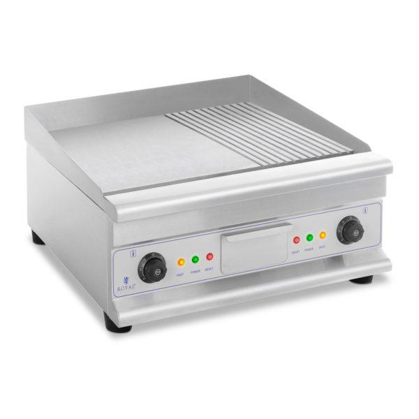 Dvojitá elektrická grilovací deska - 60 cm - hladká a vroubková   6 400 W, velký povrch 40 x 60 cm - ideální pro profesionální kuchyni, teplotní rozsah 50–300 °C .