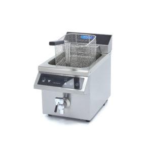 Indukční fritéza s kohoutkem - 1x8 l | Maxima 09371090 je luxusní cateringová fritéza s objemem nádrže 1x8 l a celkovým výkonem 3500 W.
