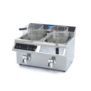 Indukční fritéza s kohoutkem - 2 x 8 l | Maxima 09371095 je luxusní cateringová indukční fritéza 2x8 litrů s LED displejem a dotykovým ovládáním.