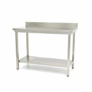 Pracovní stůl - 1400x600 mm - zadní lem | Maxima 09300986 z nerezavějící oceli je robustní stůl se silnou pracovní deskou z nerezavějící oceli