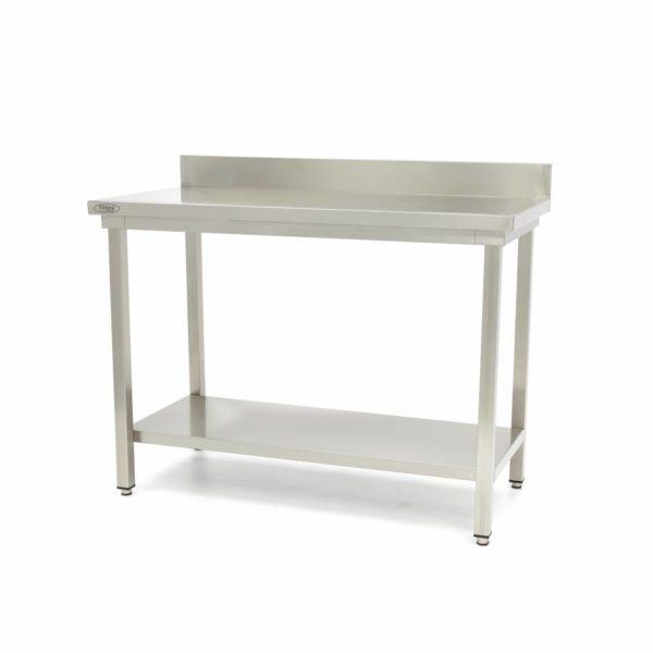 Pracovní stůl - 2000x600 mm - zadní lem | Maxima 09300995 z nerezavějící oceli je robustní stůl se silnou pracovní deskou z nerezavějící oceli