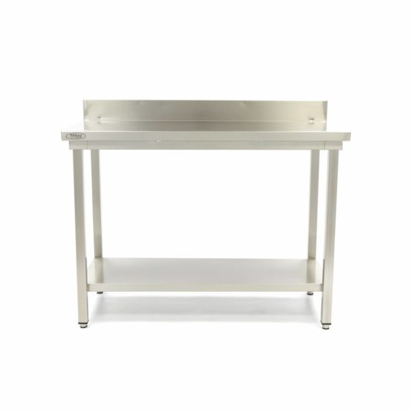 Pracovní stůl - 800x700 mm - zadní lem | Maxima 09364027 z nerezavějící oceli je robustní stůl se silnou pracovní deskou z nerezavějící oceli.