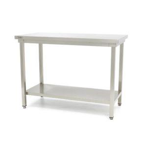 Pracovní stůl - Deluxe - 1400x600 mm | Maxima 09300962 z nerezavějící oceli je robustní stůl se silnou pracovní deskou z nerezavějící oceli.