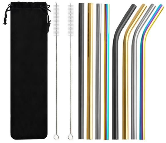 Barevné kovové brčká - sada 10 ks   M08654